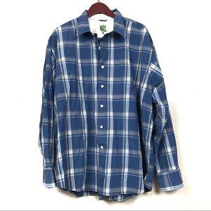 Timberland blue checkered plaid button up shirt